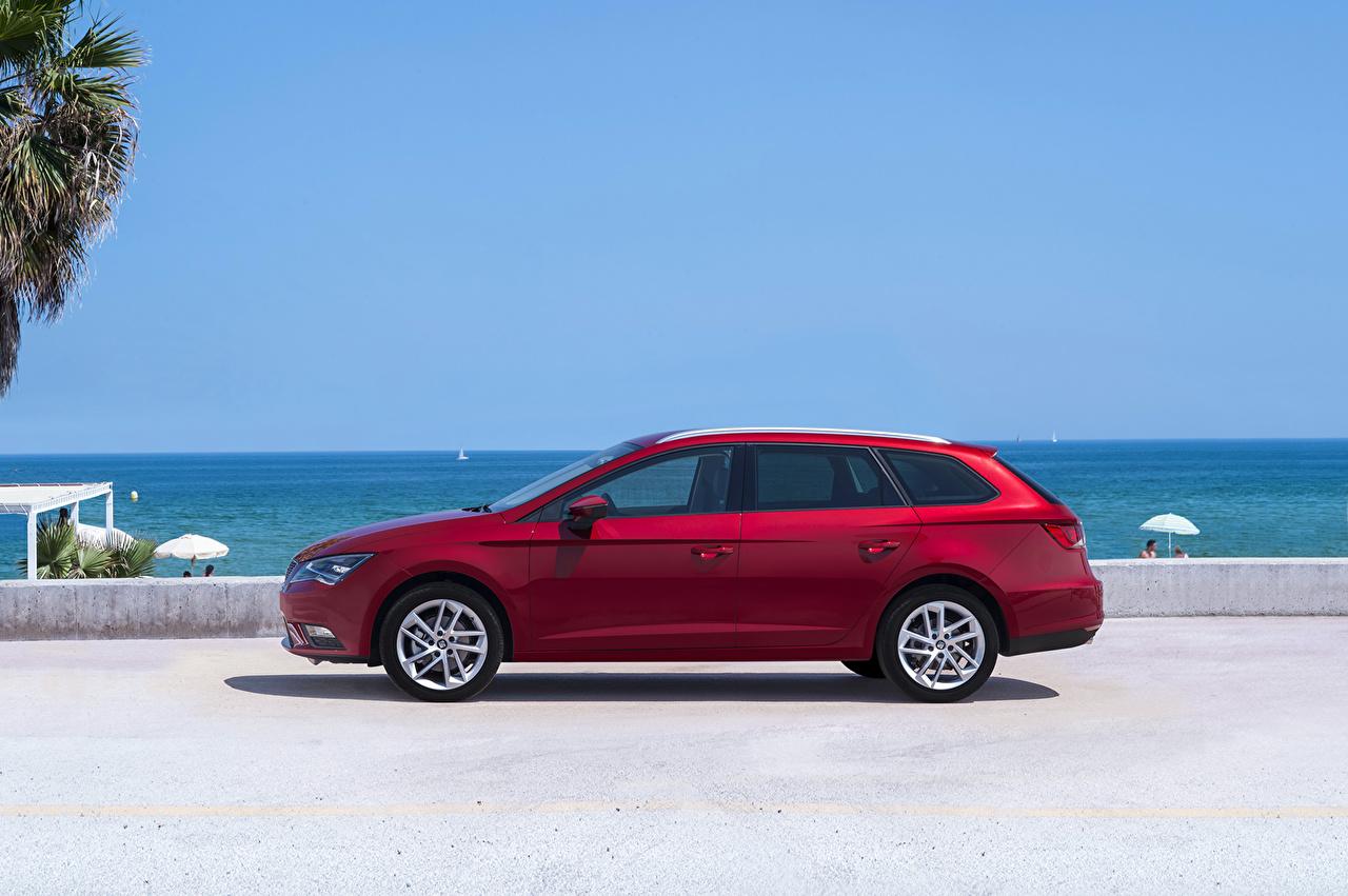 Wallpaper Seat 2014 Leon ST 4Drive Red Side Cars Coast Metallic auto automobile