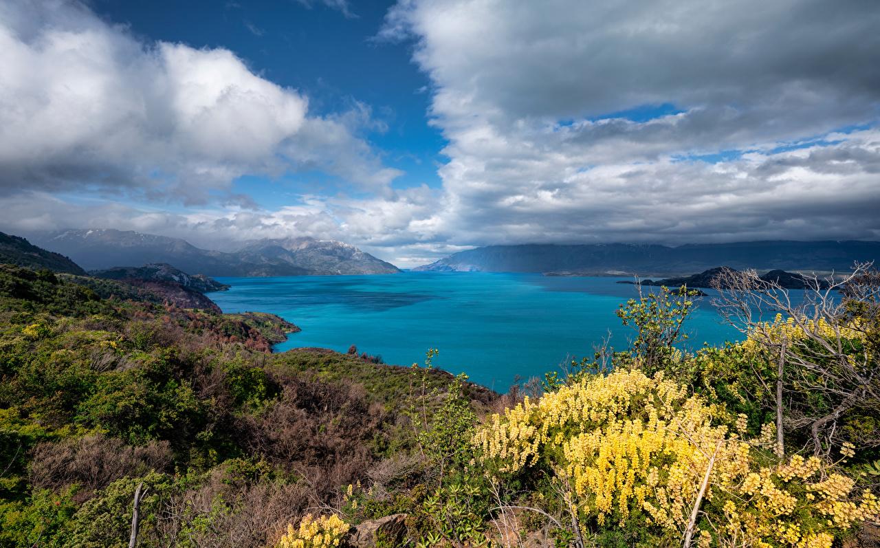 Photo Chile Lago Gral Carrera Nature Mountains Lake Clouds mountain