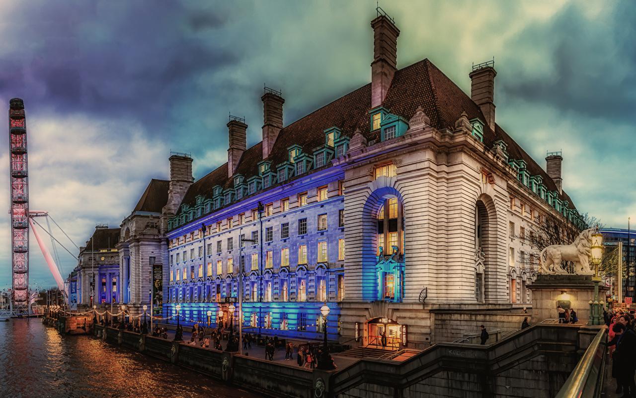 Tapety Londyn Anglia Rzeki Wieczór Przystań Latarnia uliczna Domy miasto Rzeźbiarstwo rzeka Miasta budynki budynek