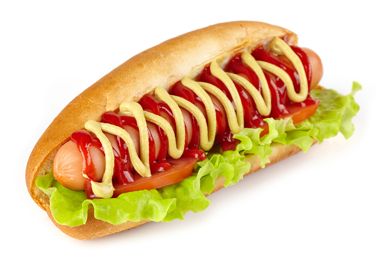 Photo Food Hot dog Ketchup Fast food Vienna sausage Senape Vegetables White background
