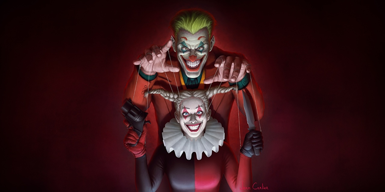 壁紙 ジョーカー ハーレークイン Joker The Puppet Master By Jean Carlier Put A Smile On Your Face Harley 微笑み 道化師 アート ファンタジー 少女 ダウンロード 写真
