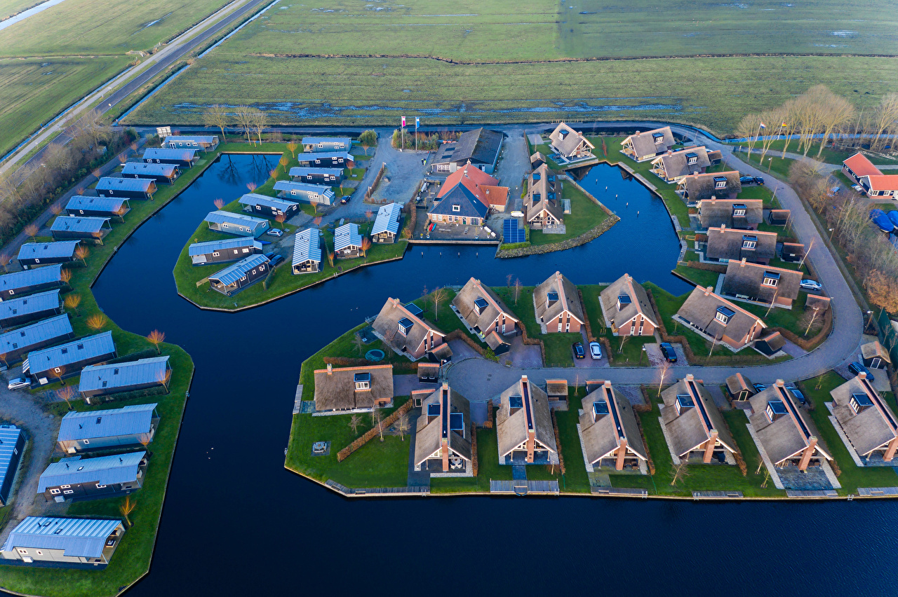 Images Netherlands Waterpark Terkaple Canal From above Cities Building Houses