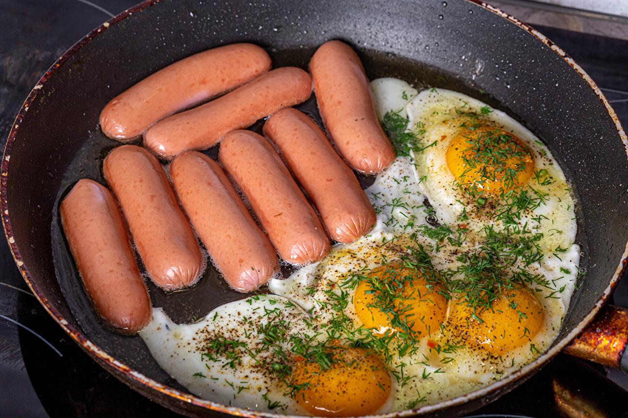 Image Fried egg Dill Frying pan Vienna sausage Food frypan