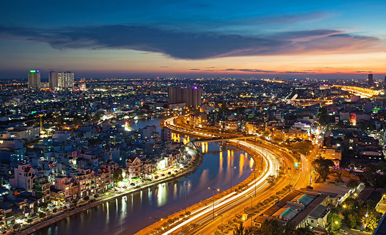 Pictures megalopolis Ho Chi Minh Vietnam Roads river night time Houses Cities Megapolis Night Rivers Building