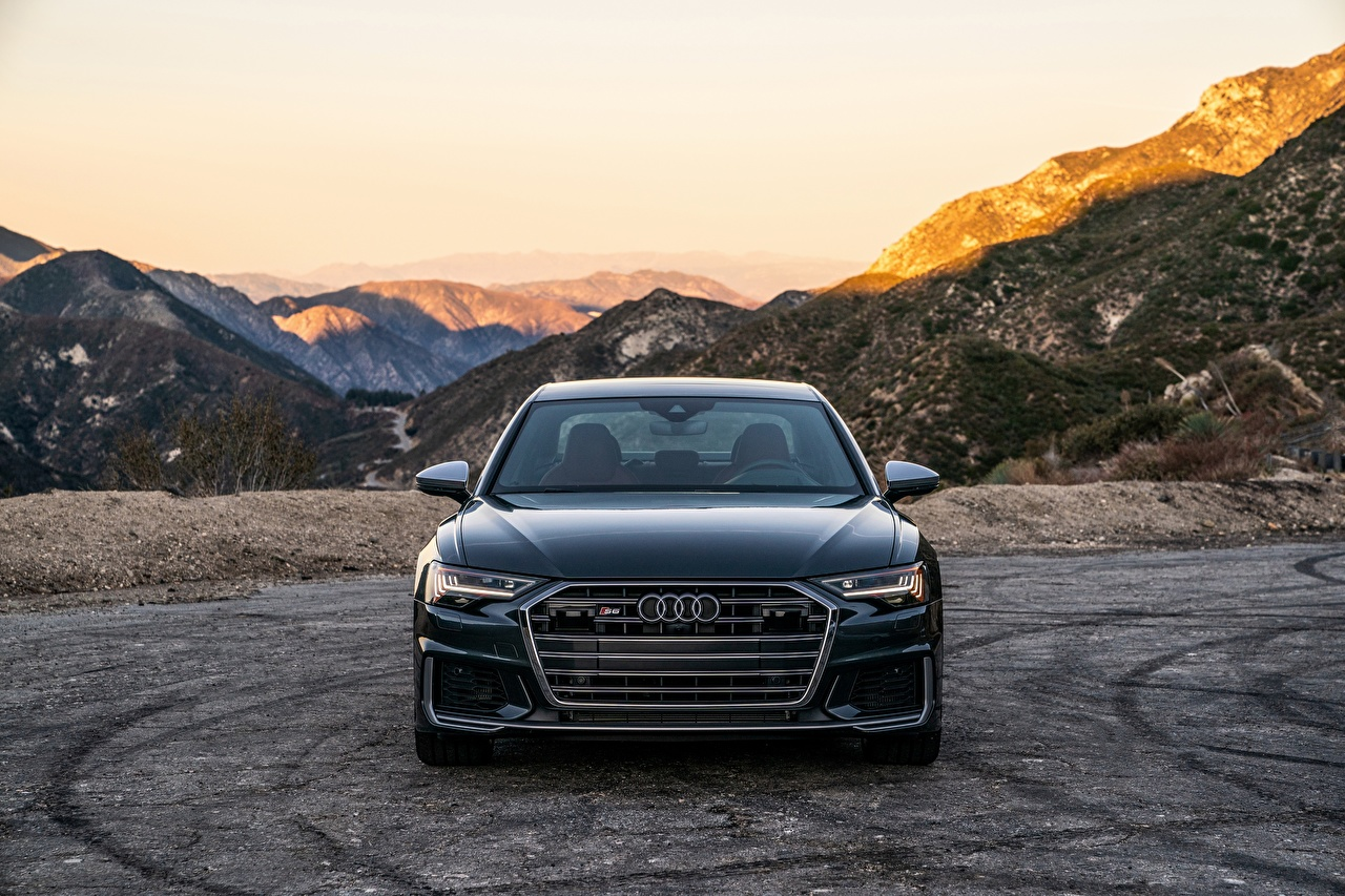 Pictures Audi A6, 2020, S6, US-version Black Mountains auto Front Metallic mountain Cars automobile