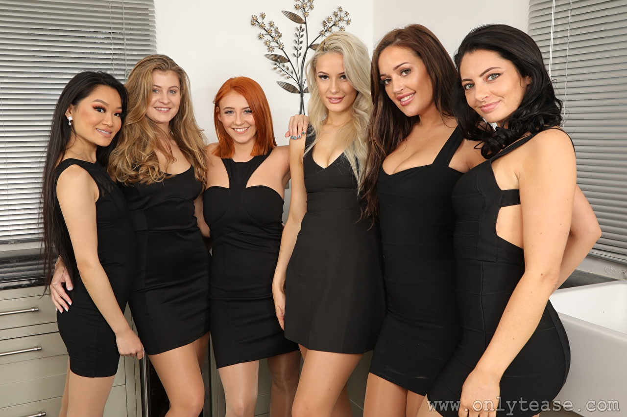 Picture Robyn J Lucy Ava Hollie Q Louisa Lu Becky Bond Paige F Only Blonde girl Dark Blonde Redhead girl Brunette girl Smile female Glance Dress Girls young woman Staring gown frock