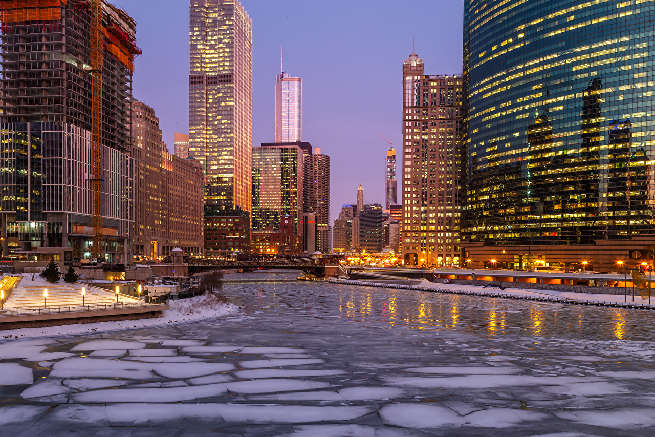Photos Chicago city USA Ice Winter Rivers Evening Street lights Cities Building Houses