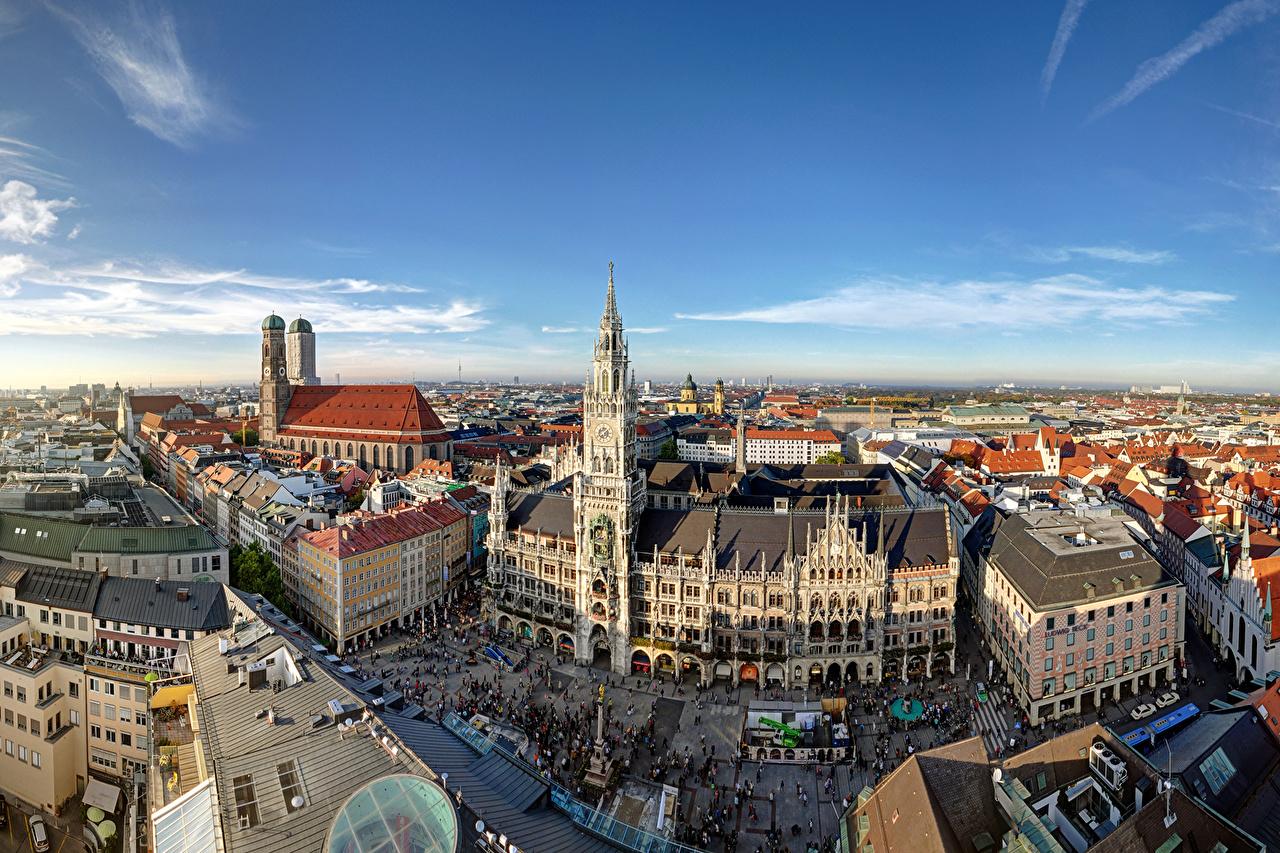 壁紙 ドイツ 住宅 空 ミュンヘン ストリート 塔 都市