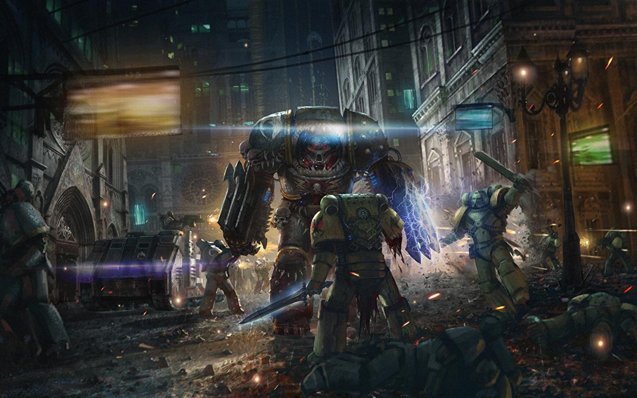 Tapety na pulpit Warhammer 40000 Wojna Robot Żołnierze Fantasy Ulica Gry wideo roboty żołnierz gra wideo komputerowa
