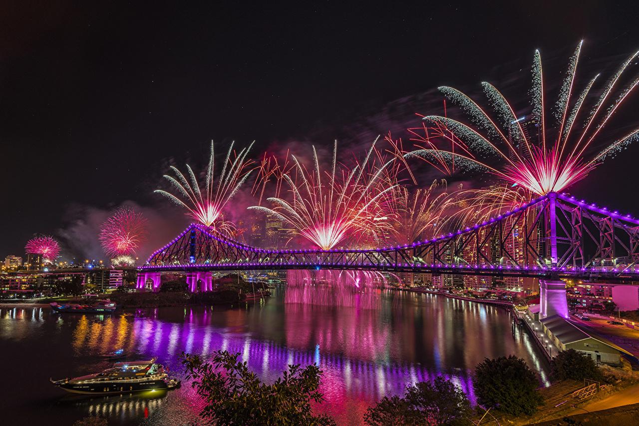Wallpaper Brisbane Australia Fireworks Bridges Rivers night time Cities Building bridge river Night Houses