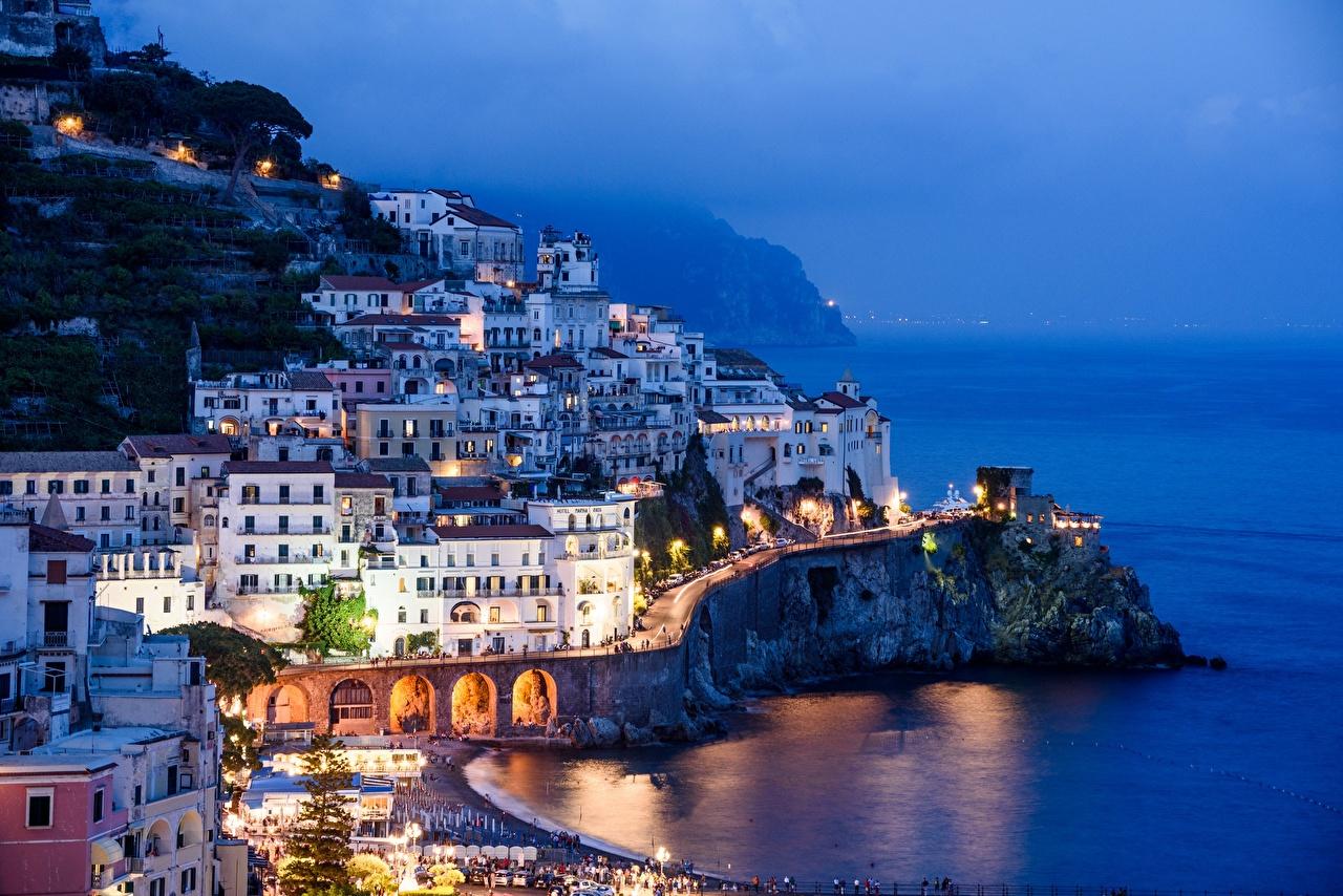 Wallpaper Amalfi Italy Salerno, Gulf Salerno Fog Evening Houses Cities Building