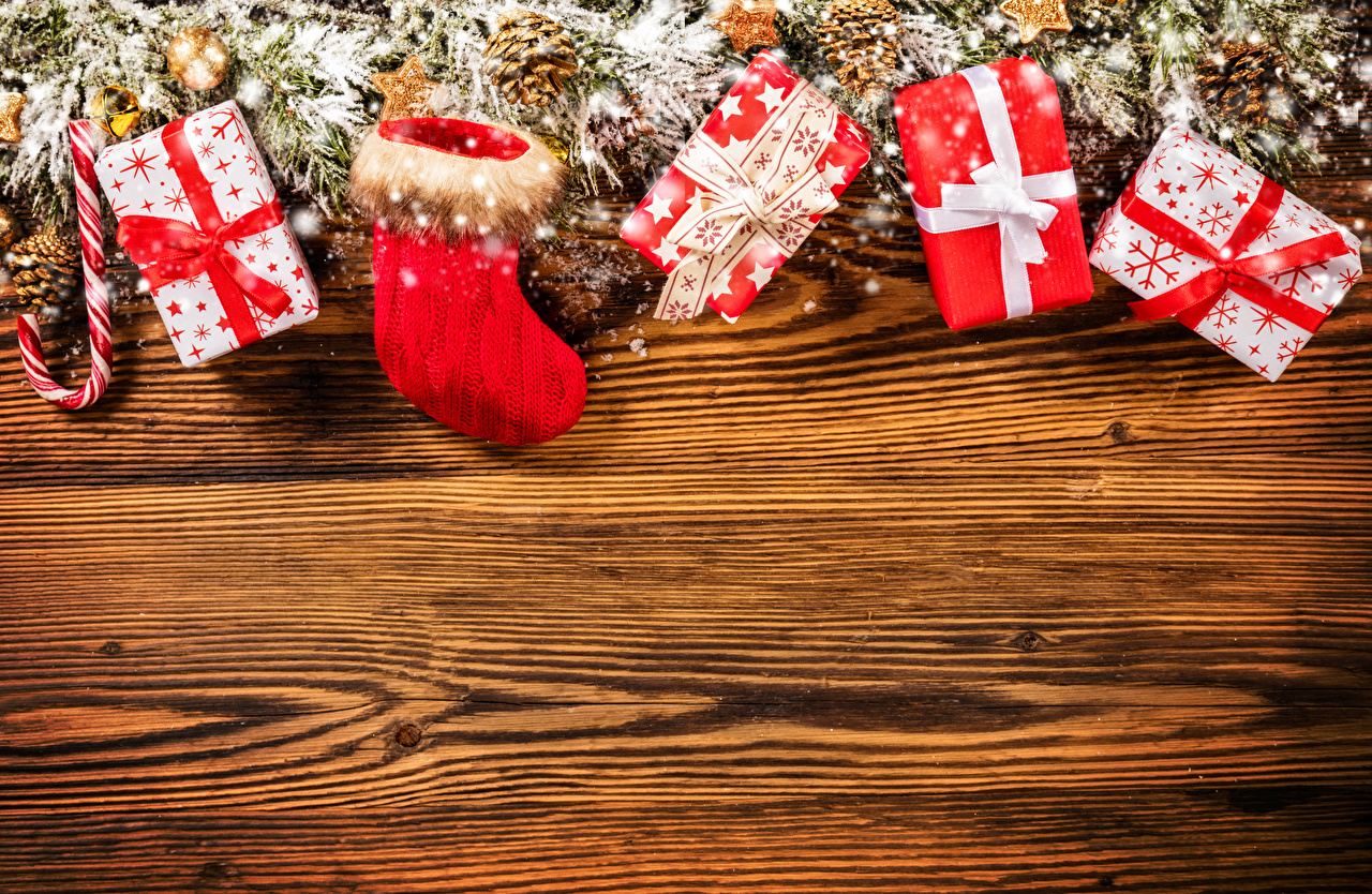 Wallpaper New year Wearing boots present Holidays Wood planks Christmas Gifts boards
