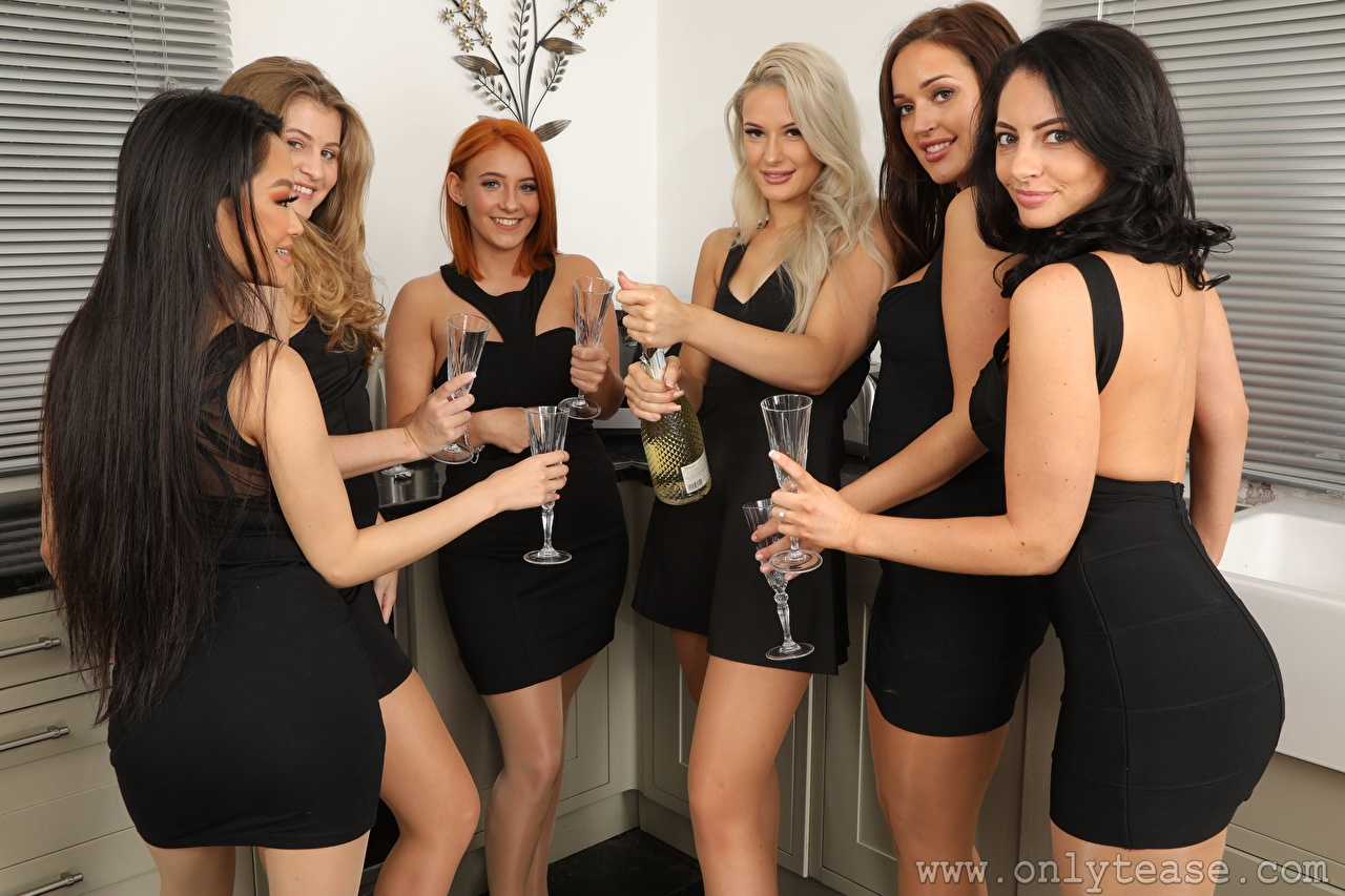 Images Robyn J Hollie Q Lucy Ava Louisa Lu Becky Bond Paige F Only Blonde girl Redhead girl Brunette girl Smile Girls Hands Stemware Staring gown female young woman Glance Dress frock