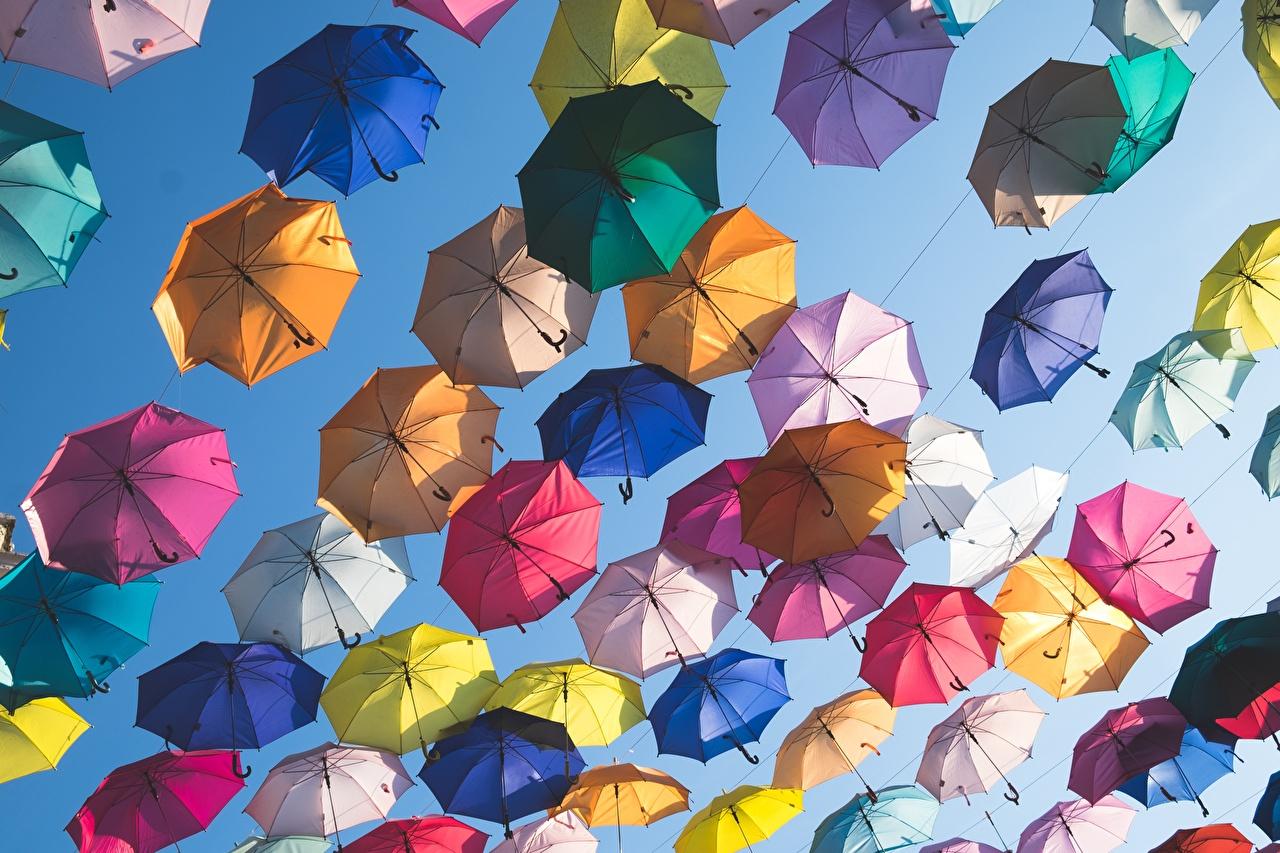 Foto kleurrijke Paraplu Veel Veelkleurige
