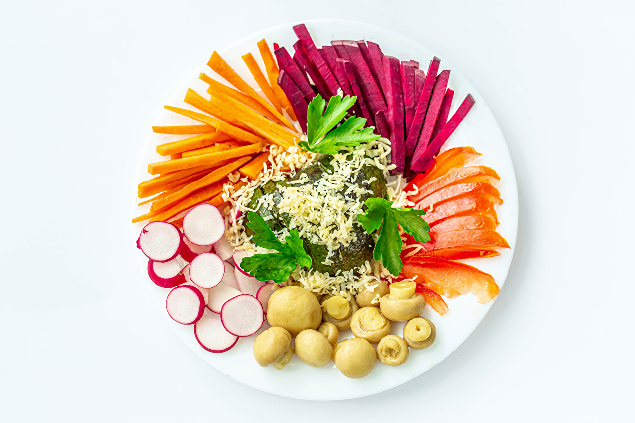 Images Beet Carrots Radishes Mushrooms Food Plate Vegetables Sliced food White background beetroot