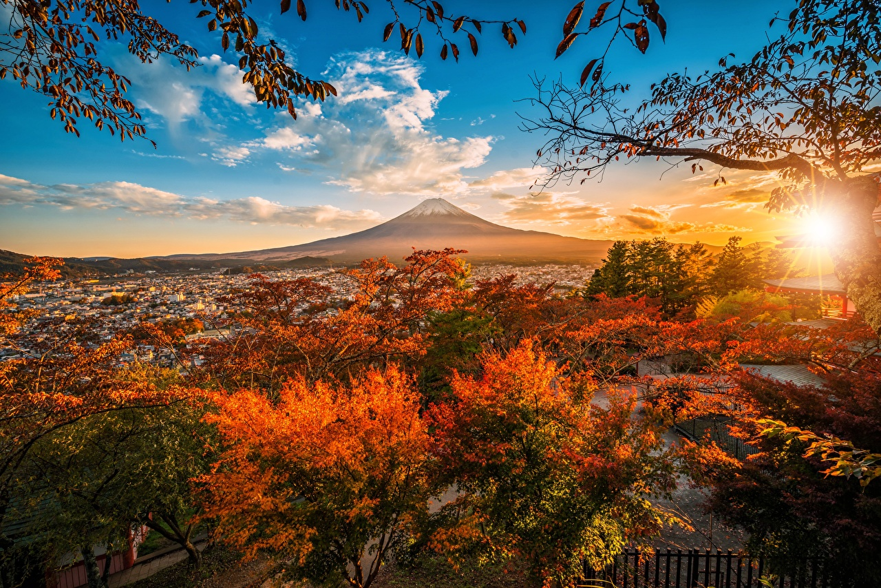 Images Mount Fuji Japan volcanoes Autumn Nature Mountains Sky Trees Clouds Volcano mountain
