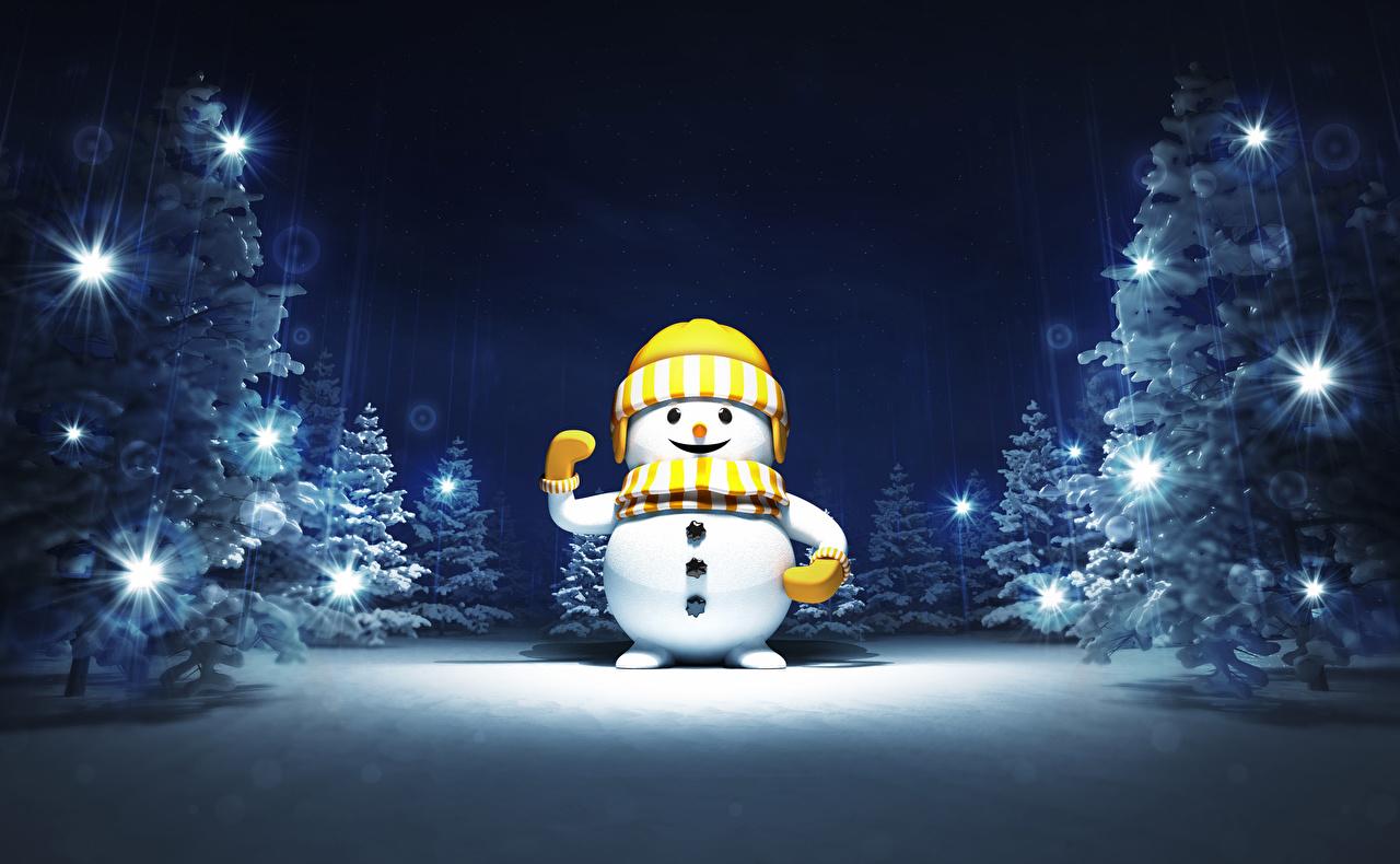 Photo New year Winter Winter hat Snow Snowmen night time Christmas Snowman Night