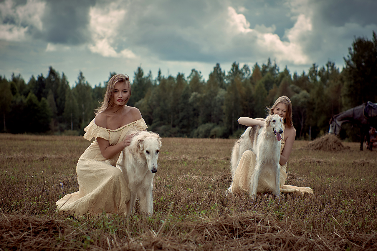 Pictures Sighthound Dogs Blonde girl Russian hunting sighthound 2 female Animals Dress dog Two Girls young woman animal gown frock