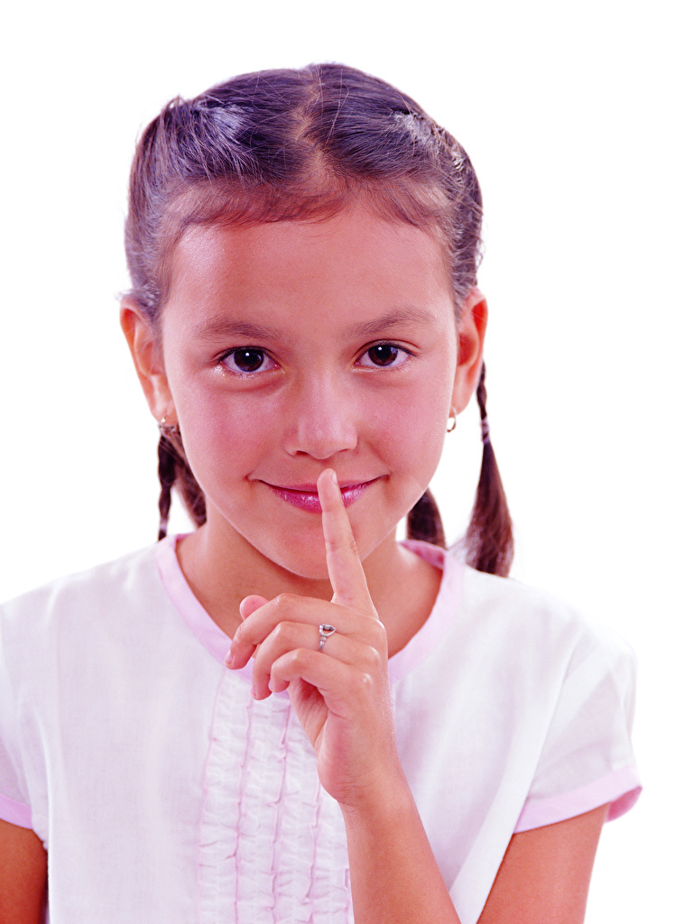 Pictures Little girls Smile Gesture Children Fingers Staring White background  for Mobile phone gestures child Glance