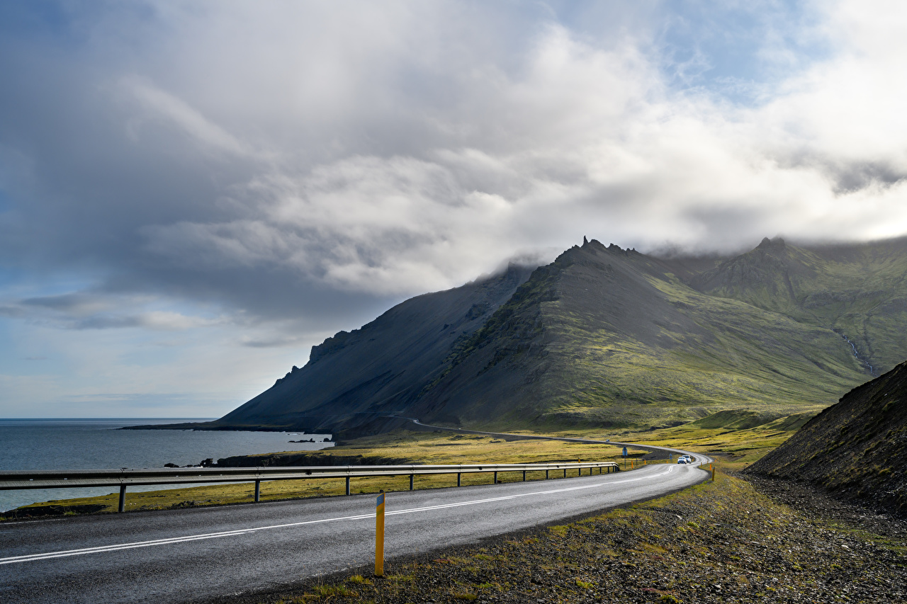 Pictures Iceland Nature mountain Roads Coast Clouds Mountains