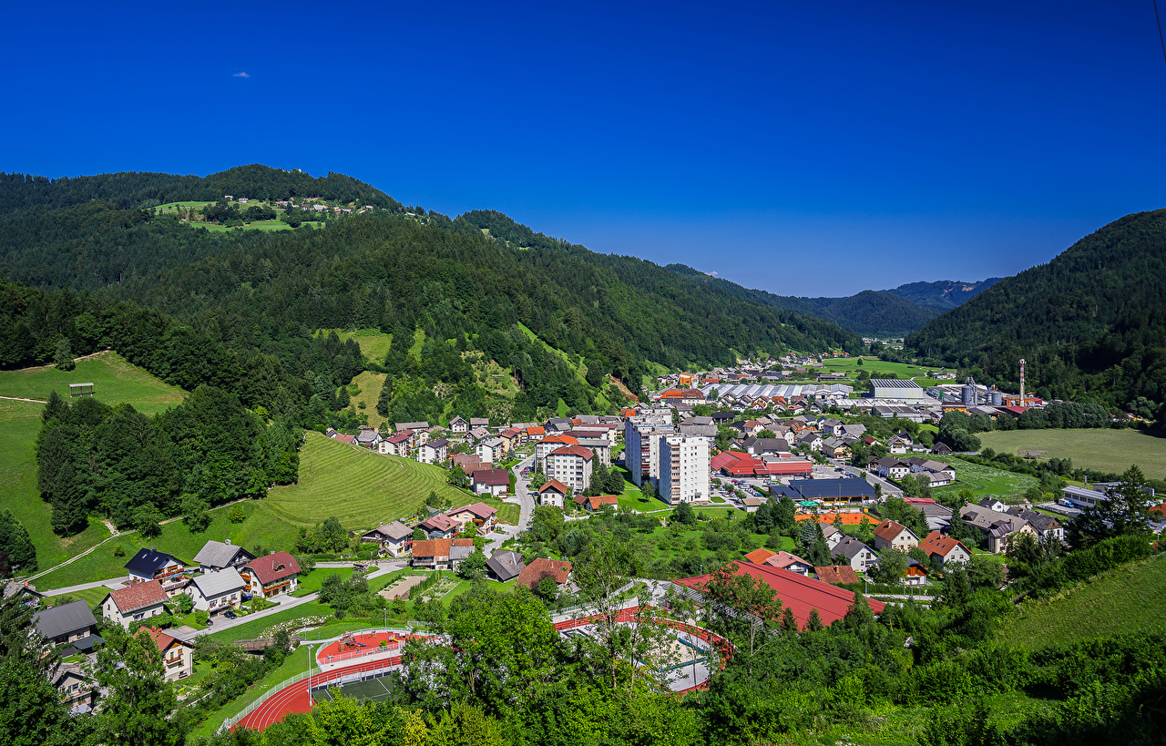 Photos Slovenia Hill Forests Cities Building forest Houses