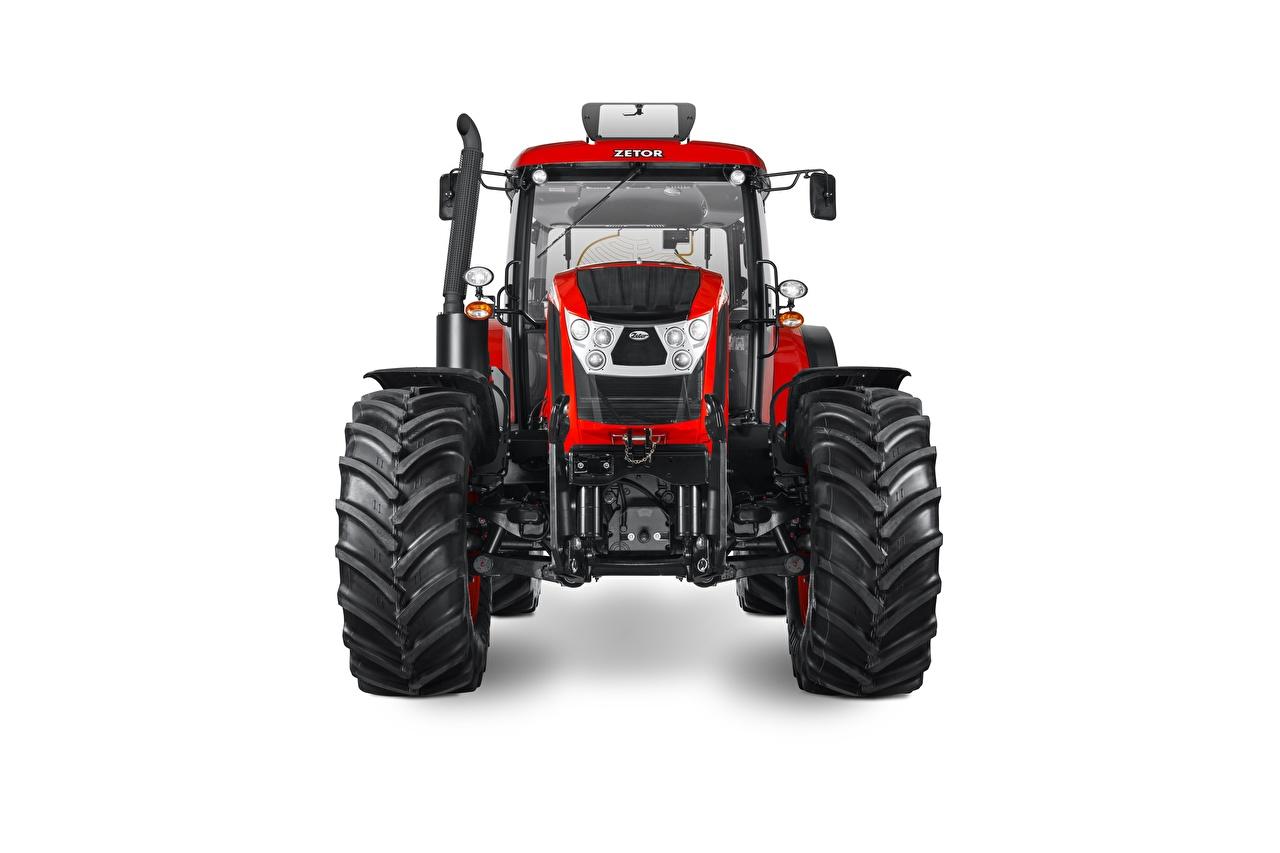 Bilder Traktor Zetor Crystal 160, 2015-18 Rot Vorne Weißer hintergrund traktoren