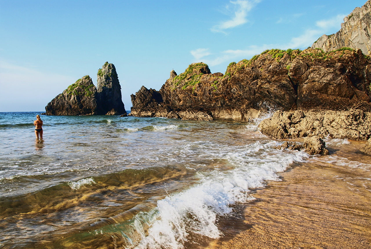 、海岸、スペイン、海、波、Bay of Biscay、岩、岩石、自然、