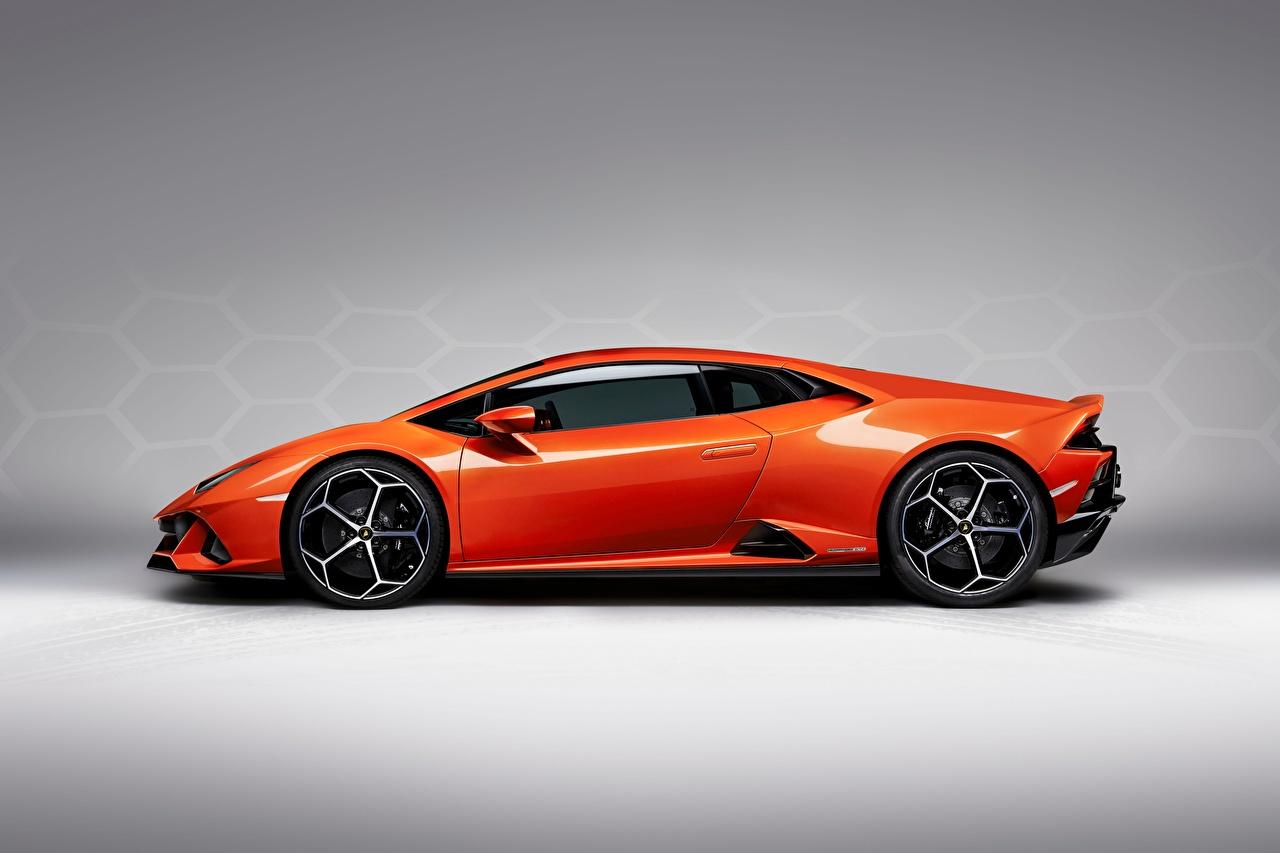 Wallpaper Lamborghini Evo Huracan Orange Side Cars Gray background auto automobile