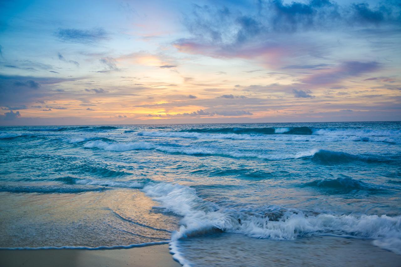 Bilder Mexiko Cancun Meer Natur Wasserwelle Sonnenaufgänge und Sonnenuntergänge Küste