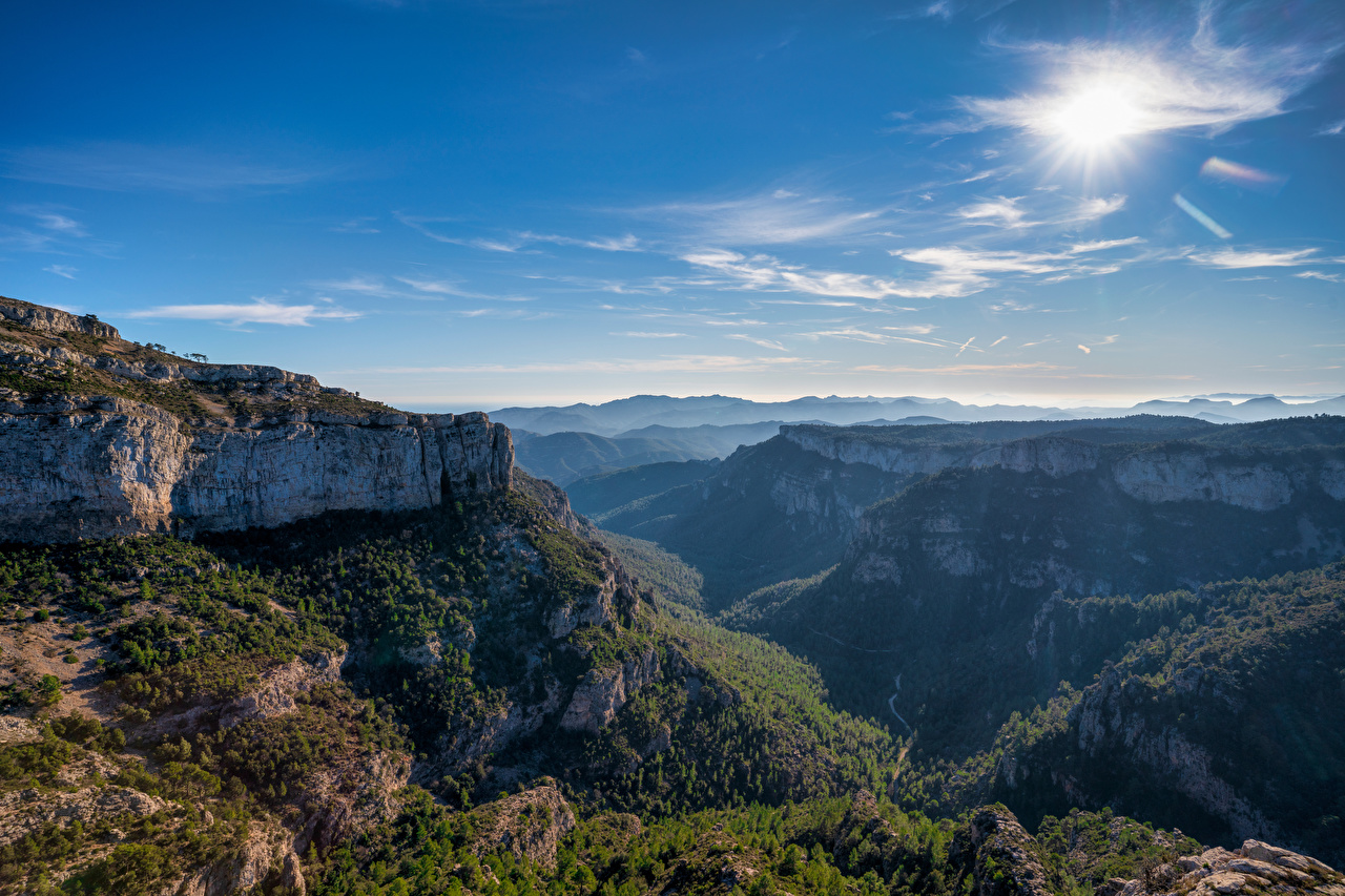 Image Spain Catalonia Crag Nature Mountains Sky Rock Cliff mountain