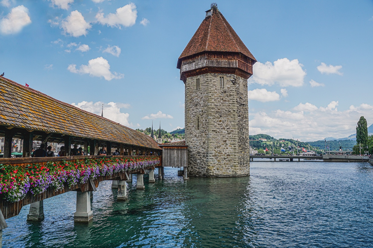 Pictures Switzerland Tower Chapel bridge, Lucerne, Reuss river Bridges Cities towers bridge Rivers