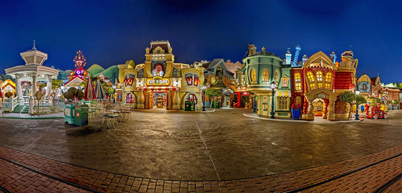 Picture Anaheim California Disneyland USA HDR Parks Evening Houses Cities Design HDRI park Building