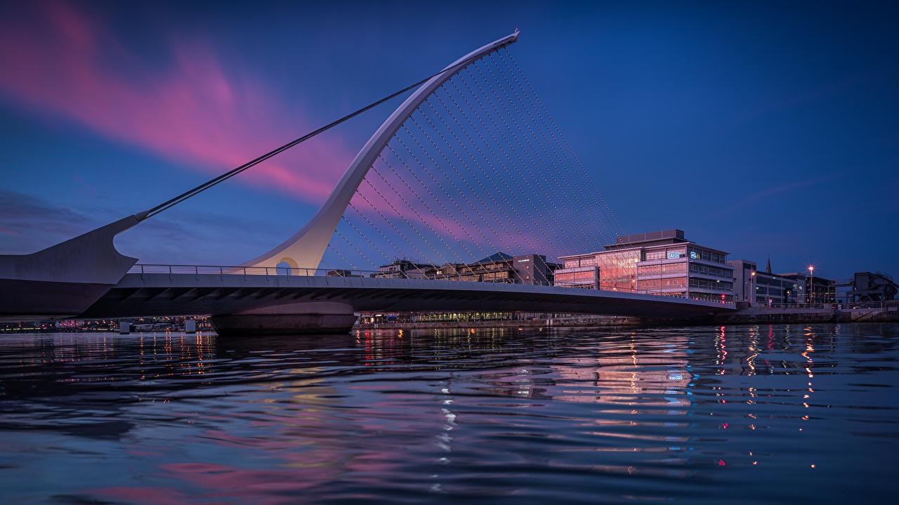 Picture Dublin Ireland Samuel Beckett Bridge Bridges Evening Marinas Cities bridge Pier Berth