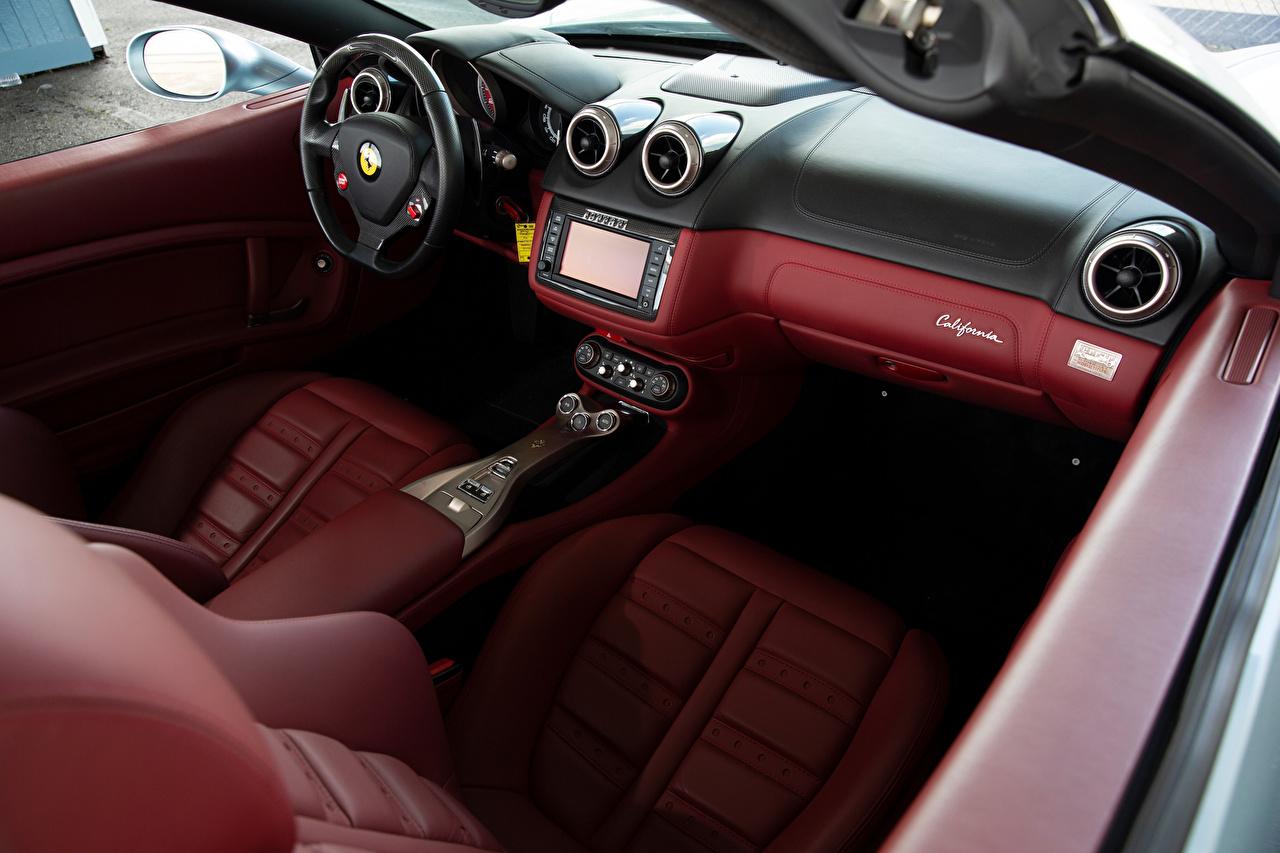 Fotos Salons Ferrari Lenkrad Leder Roadster Autos auto automobil