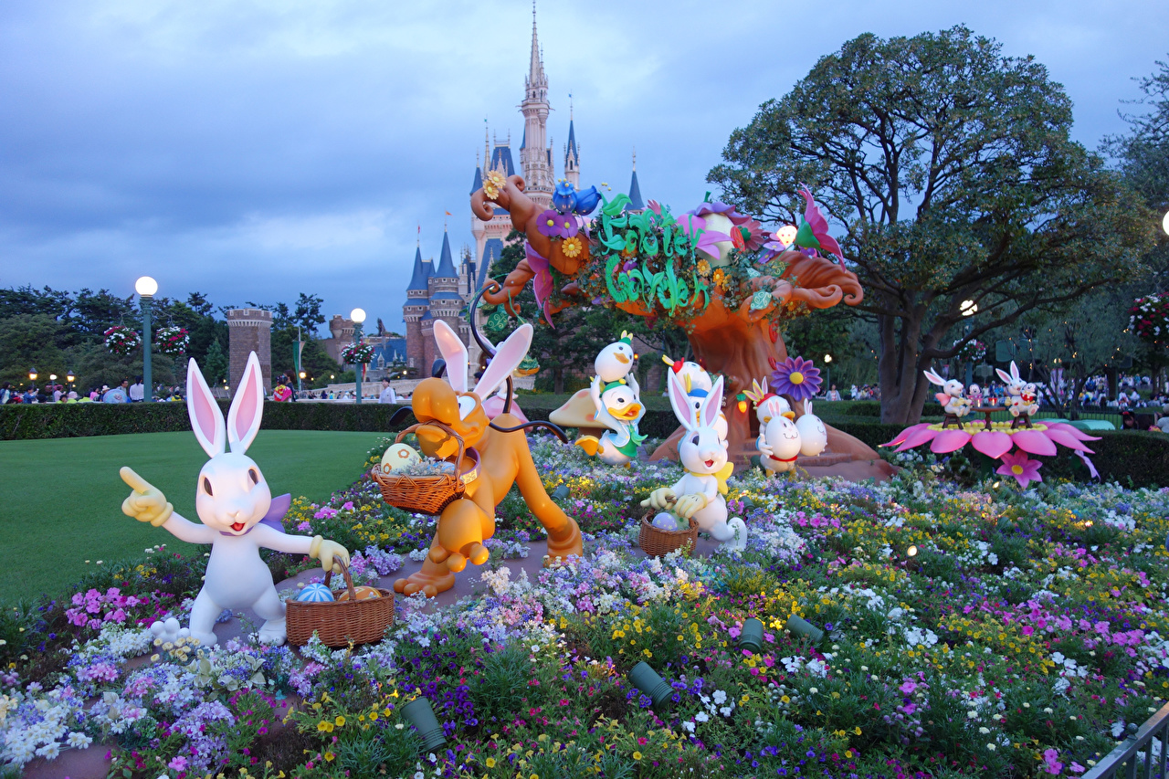 Images Easter Tokyo rabbit Japan Disney Resort egg Nature Parks Creative Design Rabbits Eggs park