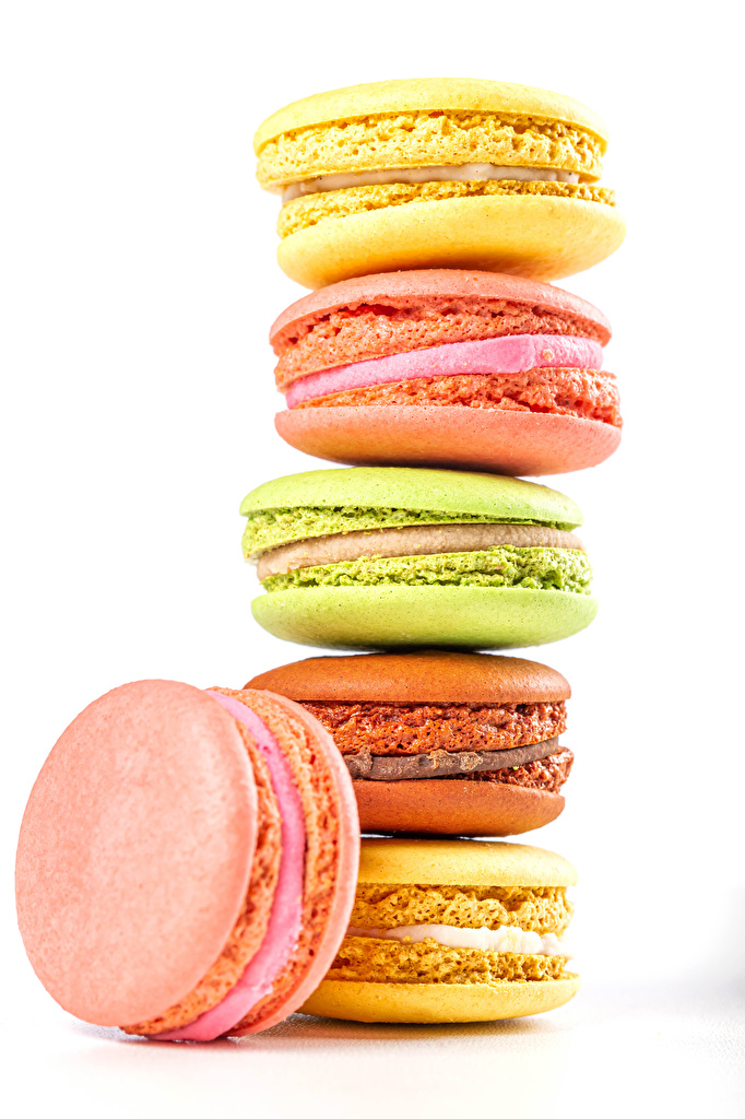 Wallpaper Macaron Multicolor Food Sweets White background  for Mobile phone french macarons confectionery