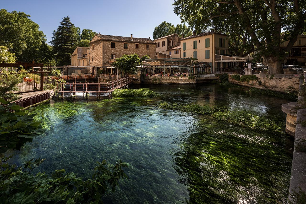 Fonds d'ecran France Maison Rivières Fontaine de Vaucluse Provence Villes télécharger photo