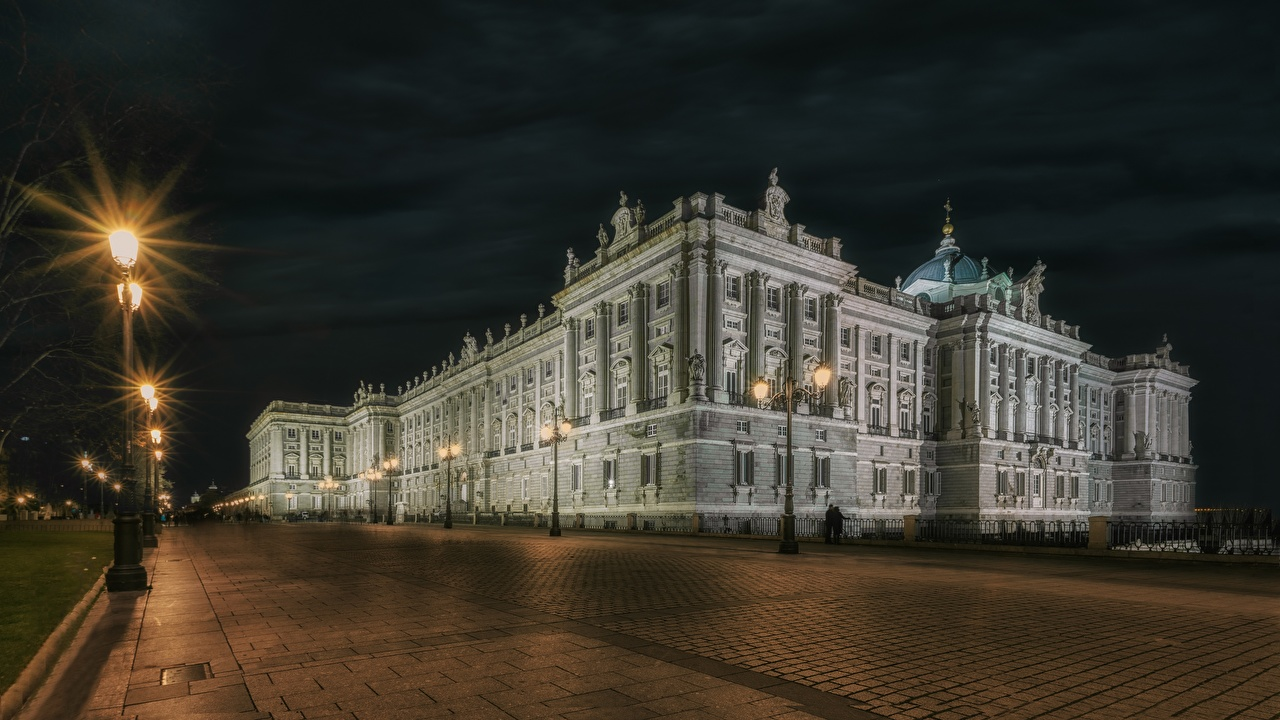 Picture Madrid Palace Spain Town square Palacio Real night time Street lights Cities Night