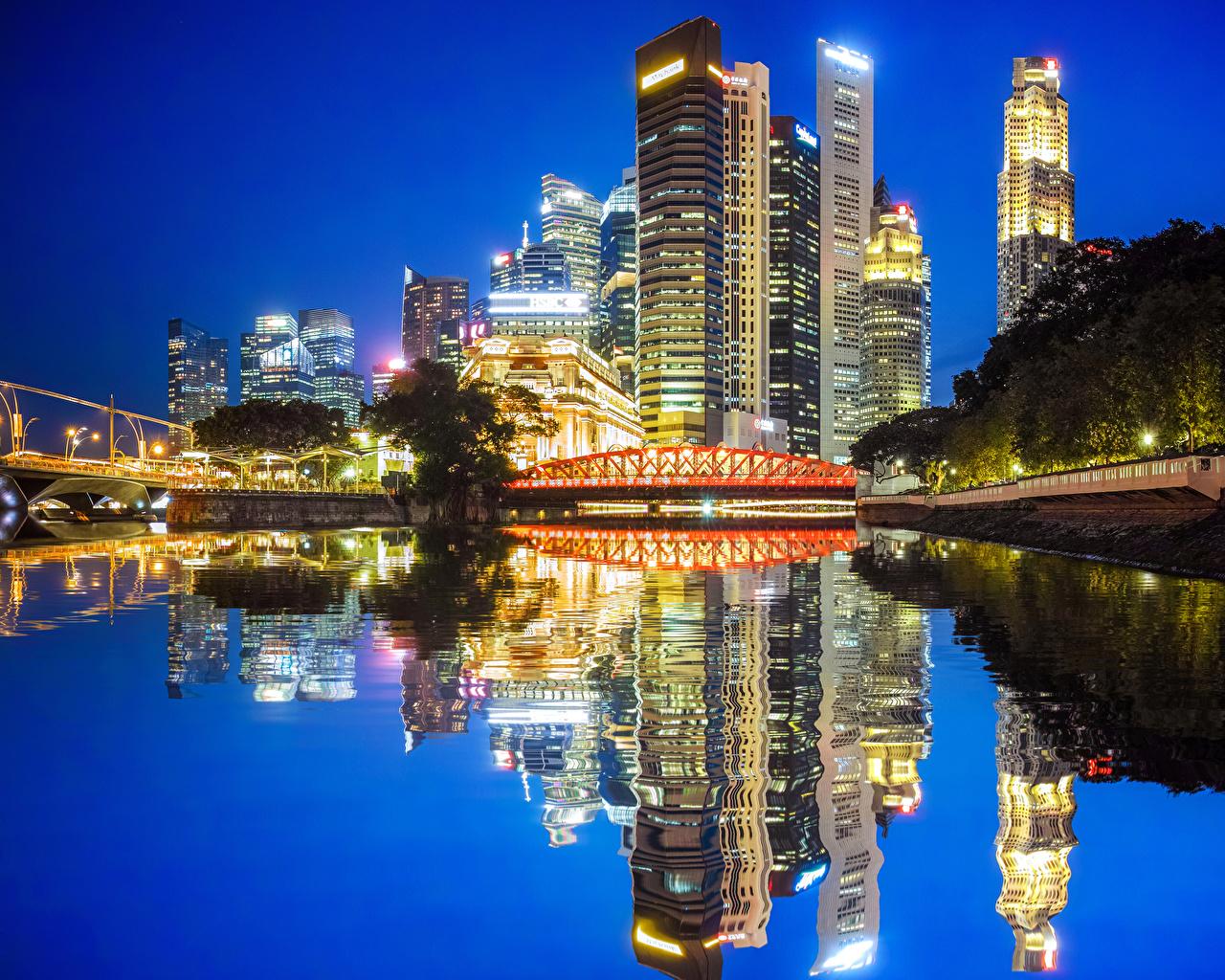 Fotos von Chicago Stadt USA Brücken Reflexion Abend Flusse Haus Städte Vereinigte Staaten spiegelt Spiegelung Spiegelbild Gebäude