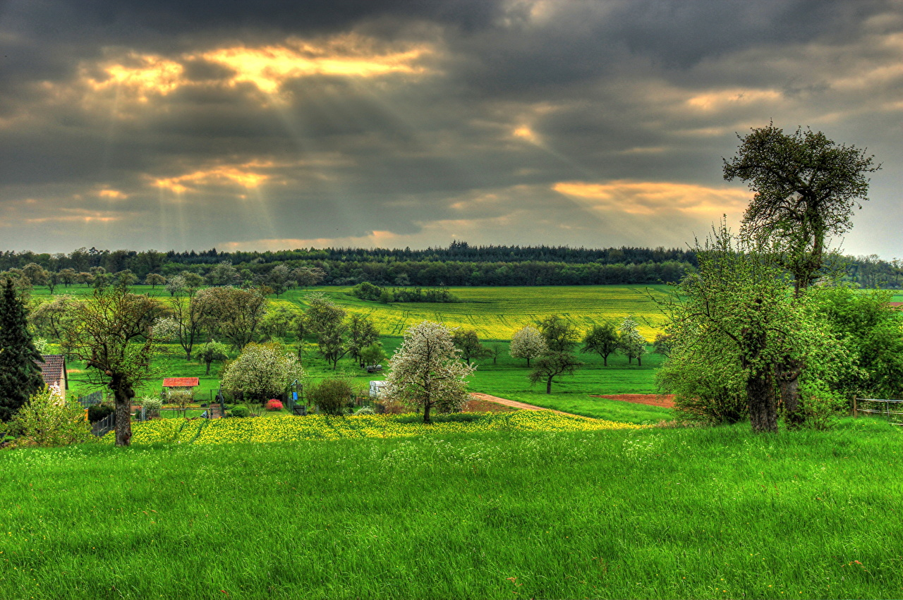 Photo Germany Hessen Hungen Hdr Nature Sky Fields Grass 1280x851