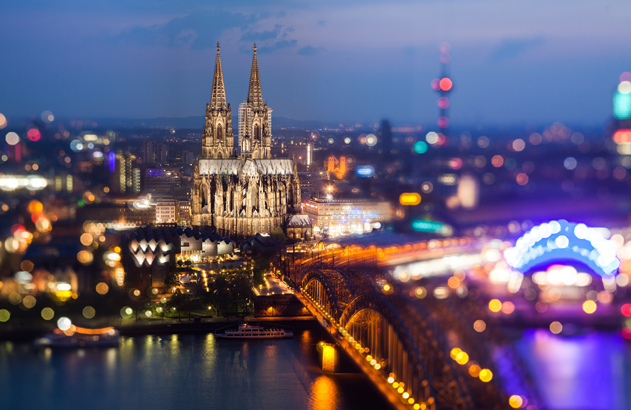 Images Cologne Cathedral Germany bridge From above Cities Bridges