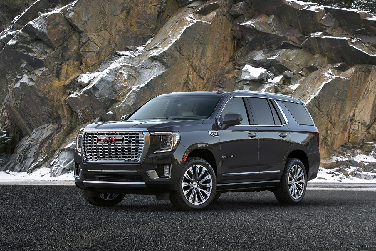 Pictures GMC Denali, Yukon, 2020 Crag Black auto Metallic General Motors Company Rock Cliff Cars automobile