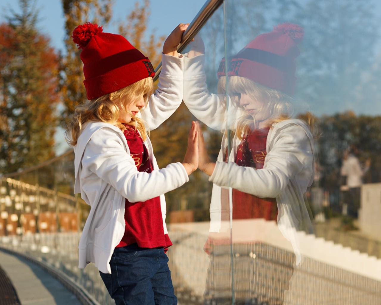 Wallpaper Little girls child Winter hat Reflection Glass Children reflected