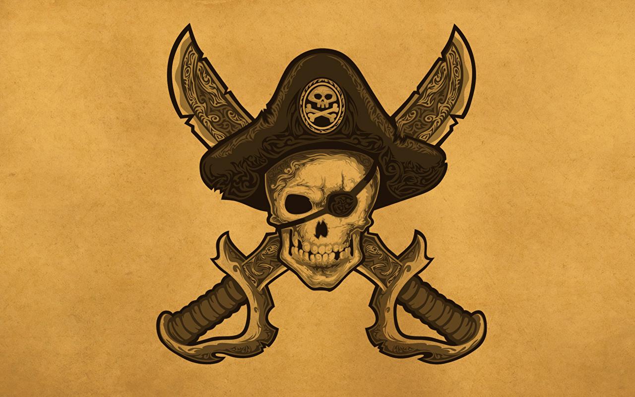 Desktop Wallpapers Skulls Pirates Hat Fantasy
