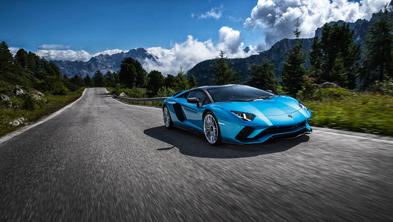 Images Lamborghini 2017-18 Aventador S Roadster Light Blue Roads moving Cars Motion riding driving at speed auto automobile