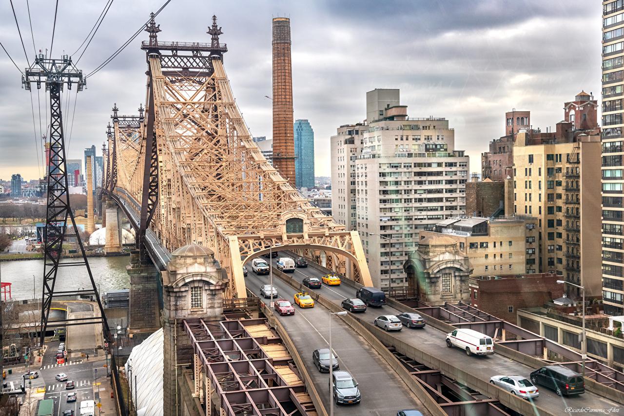 Image New York City USA Queensboro Bridge Bridges Rivers Houses Cities bridge river Building