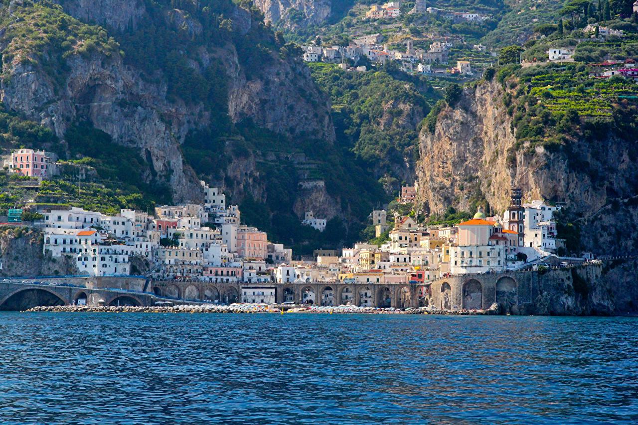 Photos Amalfi Italy Cliff Houses Cities Crag Rock Building