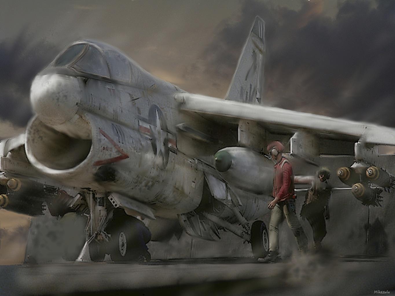 壁紙 飛行機 描かれた壁紙 戦闘機 Ltv A 7 Corsair Ii 航空 ダウンロード 写真