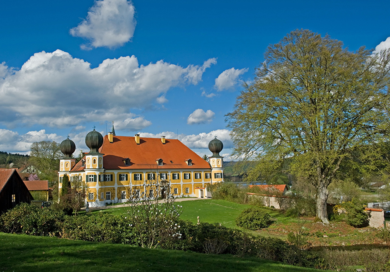 Pictures Germany Ramspau Castles Trees Houses Clouds Cities castle Building