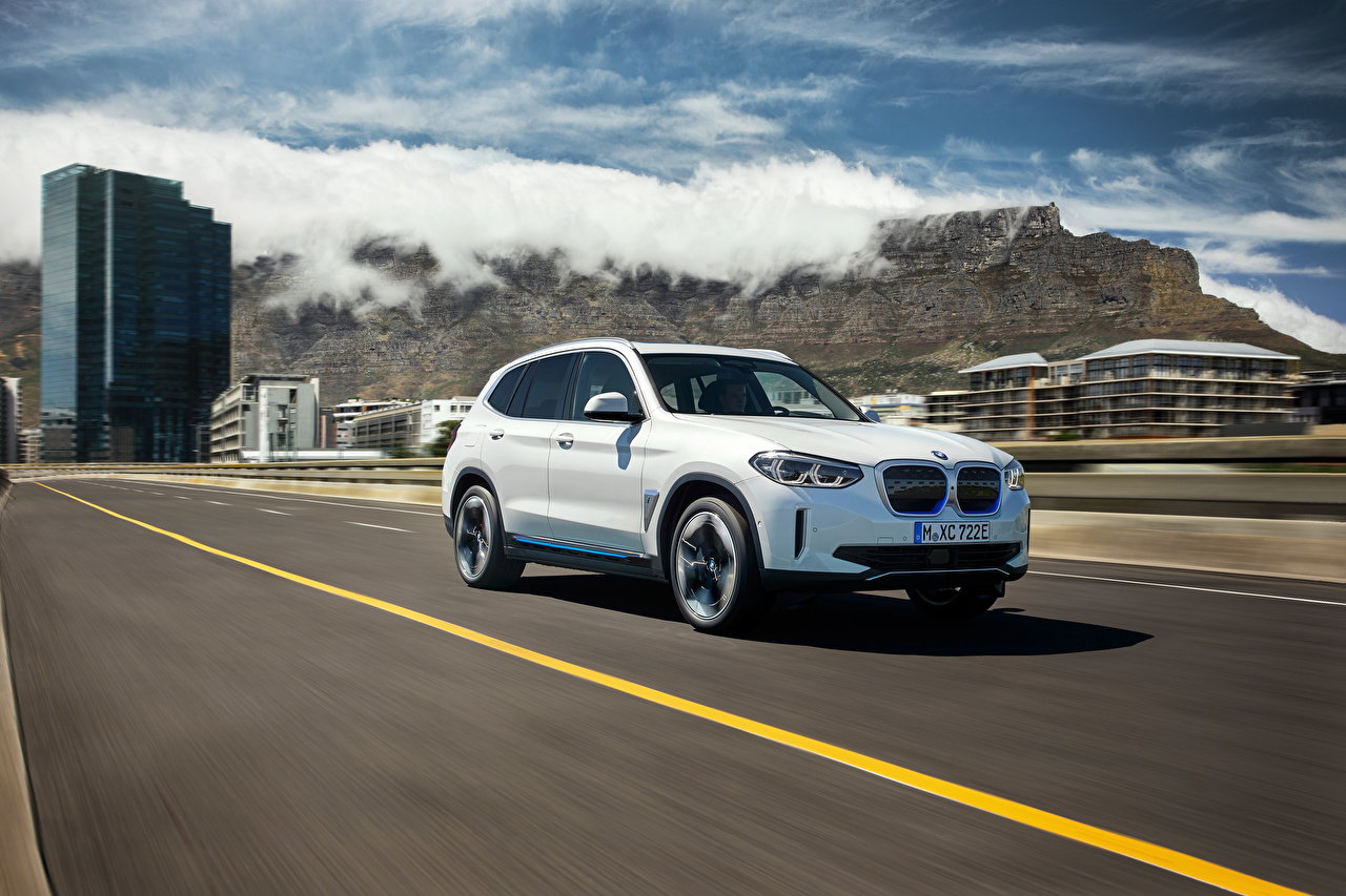 Picture BMW CUV iX3, G08, Worldwide, 2020 White Roads Motion auto Metallic Crossover moving riding driving at speed Cars automobile